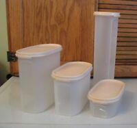 LOT Tupperware Modular Mates Pasta Holder 7.25 4.75 & 2 Cups Light Pink Lids