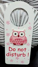 WOODEN BABY PINK OWL NURSERY DOOR HANGER- 'DO NOT DISTURB'- GIFT NEWBORN DECOR