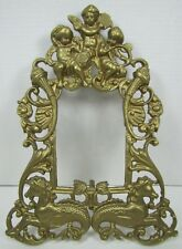 Old Brass CHERUBS SEA MONSTERS HIPPOCAMPUS Decorative Art Frame Picture Mirror