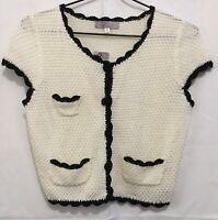 Tempt Vintage Knitted Cream Black Bolero Top Cardigan Rockabilly Pinup size M