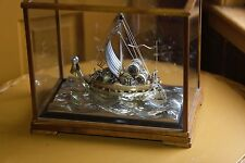 VINTAGE HAND MADE JAPANESE OKIMONO PURE SILVER MINIATURE TREASURE SHIP IN CASE