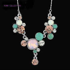 Genuine Swarovski Crystal Element Jewellery Silver Pink Blue Necklace Pendant