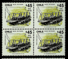 CHILE, BALSA RIO PALENA, D.S. Nº 20, BLOCK OF 4, MNH, YEAR 1991.