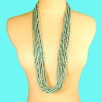 "32"" Multi Strand  Aqua Blue Color Bali Boho Style Handmade Seed Bead Necklace"