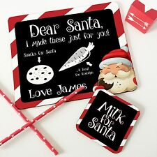 Christmas Personalised Wooden Glossy Santa Snack Placemat & Coaster Set for Kids