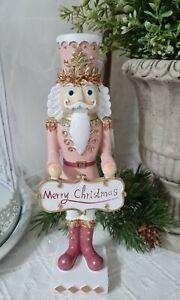 Nußknacker  Deko Figur Rosa Gold 22 cm Weihnachten Shabby  Vintage