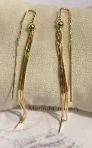 18k Solid Yellow Gold Ball Long Hook Dangle Earrings, Diamond Cut 4.71 Grams