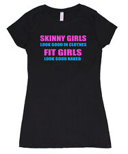 SKINNY GIRLS FIT GIRLS NAKED GYM CROSSFIT TRAINING YOGA WORKOUT RUNNING T SHIRT