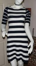 KAREN MILLEN LADIES BLACK & WHITE STRIPED STRETCH DRESS/s