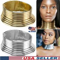 African Jewelry Vintage Necklace Metallic Coil Adjustable Choker Maxi Collar US
