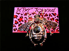 Betsey Johnson Cute Bee Red Crystal Rhinestone Charm Women's Brooch Pin