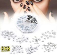 Aluminum Metallic 3D Nail Art Decoration Studs Tips Mixed Metal Shape Kit Set UK