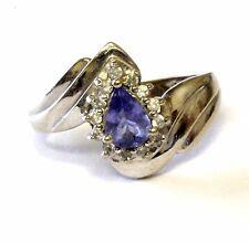 14k white gold .13ct diamond tanzanite ring band 4.1g estate vintage antique