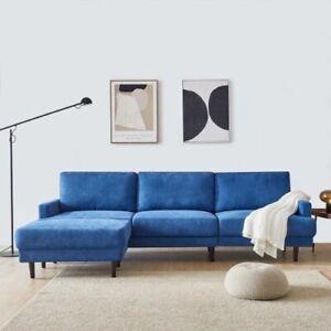 Modern Royal Blue Microfiber Soft Sectional Sofa - 3 Seats plus Ottoman