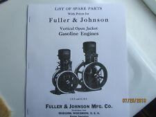 1925 Fuller Amp Johnson Vertical Hopper Cooled Gas Engine Parts Manual 1 2 12hp