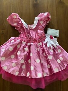 New Disney Store Pink Minnie Mouse Costume Dress With Gloves Size 2