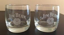 Set of 2 Jim Beam Whiskey Round Glasses Drink Smart