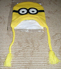 Despicable Me 2 Dave Minion Laplander Knit Hat! Pilot Ski Cap Promo! HTF! New!