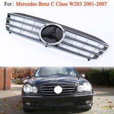 Chrome For Mercedes Benz W203 2001-2007 C Class Front Hood Sport Grill Grille