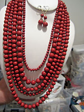 Five Layers Burgundy Lucite Bead Necklace earring Set