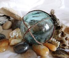 Vtg Japanese Glass Fishing Float..Net, Sky Blue & Rare Kanji Makers Mark (#15)