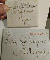 1813 LOTTO 2 PREFILATELICHE DA LIVORNO A SIENA E BOLOGNA UNA CON TIMBRO LIVOURNE