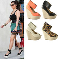 Ladies Women's High Wedges Espadrille Holiday Summer Sandals Ankle Strap Shoes