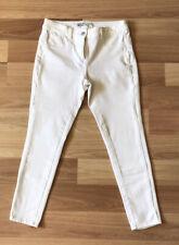"NEXT 360 White Denim Skinny Jeans Size UK 12 Cropped L25"" 4 Way Stretch Summer"