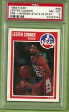 1989 Fleer Lester Conner #96 garden state in stat error basketball PSA 8 Nm-mt