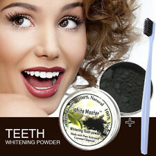 100% Organic Activated Charcoal Teeth Whitening Coconut Powder Carbon & Brush