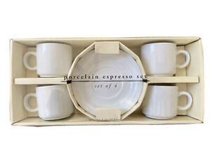 NEW IN BOX Set of 4 Pier 1 White Porcelain Espresso Cups & Saucers NEVER USED