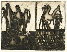 MAX LACHNIT - Skulpturen im Raum - Radierung mit Prägedruck 1960