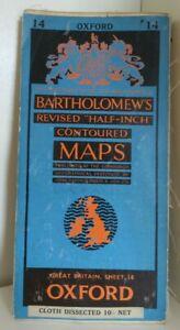 Bartholomew's Half Inch Contoured Map. 1958 Oxford
