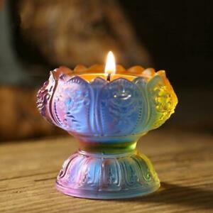 Coloured Glaze Lotus Candle Butter Lamp Candle Holder Buddhist Supplies