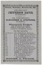 Jefferson Davis electoral ticket used to elect him President of the Co... Lot 63