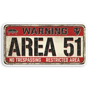 2 x 10cm Area 51 Sign Vinyl Stickers Alien Aliens UFO Fun Laptop Sticker #31311