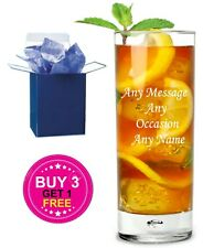 Personalised Engraved Highball Tumbler Mixer Glass - Any Occasion- Gift Boxed