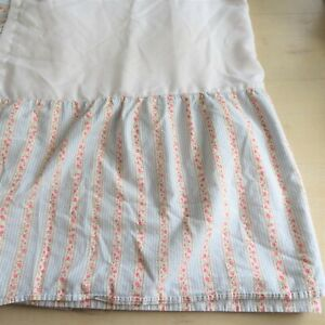 """Tommy Hilfiger Home Floral Striped Full Bed Skirt 14"""" Drop Vintage Made in USA"""