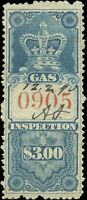 Used Canada 1875 $3 F-VF Van Dam #FG6 Gas Inspection Stamp