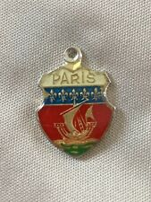 PARIS Silver Travel Shield Enamel Charm