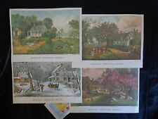 Authentic Currier and Ives Folio Prints Set of 4 AMERICAN HOMESTEAD SEASONS