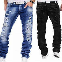 Men's Straight Leg Ripped Frayed Jeans Light Washed Denim Pants Trousers