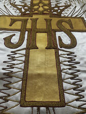 Antique French Vestment IHS Chasuble Priest Embroidered Goldwork Panel 1930's