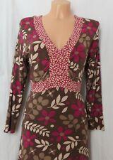 Jerseykleid Johnnie Boden direct 38 braun beige pink Blumen geblümt Viskose
