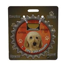 Labradoodle (yellow) dog coaster magnet bottle opener Bottle Ninjas magnetic