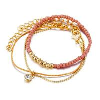 3pc Multi-layered Gold Plated Beaded Fashion Bracelet Womens Gift Present Pink