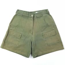 Jessica Women Vintage Cargo Short Pants Army Green High Rise Sz 10P 100% Cotton