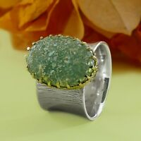 Solitaire Two Tone 9k Yellow Gold & 925 Sterling Silver Roman Glass Ring Size