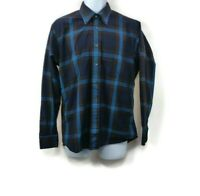 Burberry London Mens Blue Brown Plaid Long Sleeve Cotton Blend  Shirt