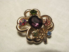 Brooch Pin Gold Tone 4 Leave Clover Filigree Leaves Colorful Rhinestones WOW
